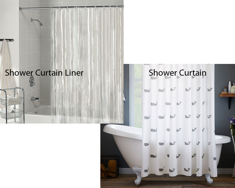 Shower curtain and liner difference curtain menzilperde net for Drapes or curtains difference