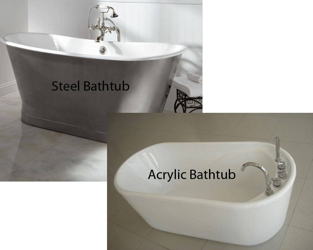 Steel vs acrylic bathtub for Acrylic vs porcelain tub