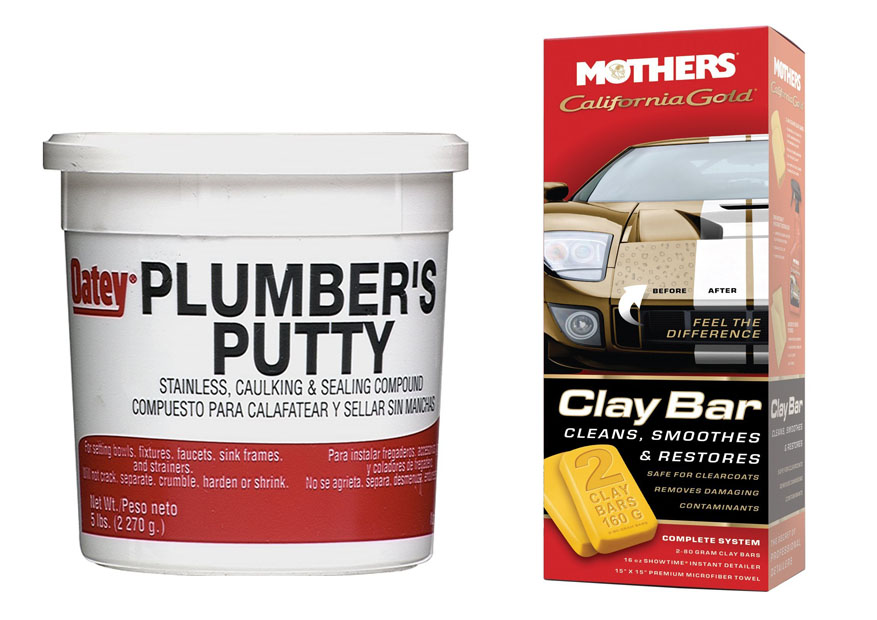 Plumbers putty vs clay bar for Plumbers putty